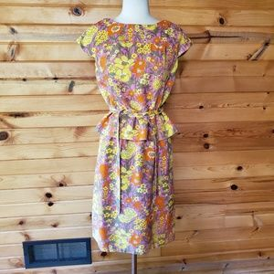1960s Miss Mendessolle Floral Poly/Cotton Dress